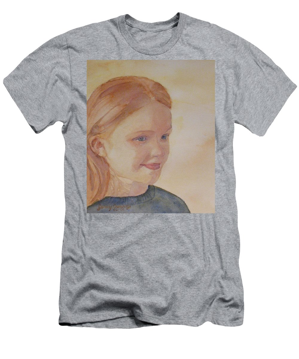 Girl Men's T-Shirt (Athletic Fit) featuring the painting Sunnie Birdie by Jenny Armitage