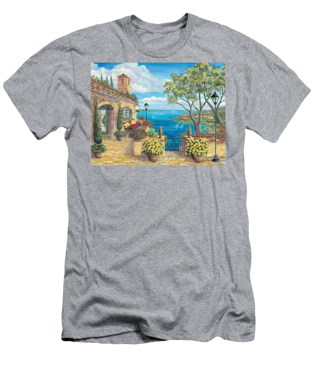 Mediterranean Villa By The Sea. Bright And Vibrant Color. Landscape Men's T-Shirt (Athletic Fit) featuring the painting Sunny Villa by Cheryl Hamilton