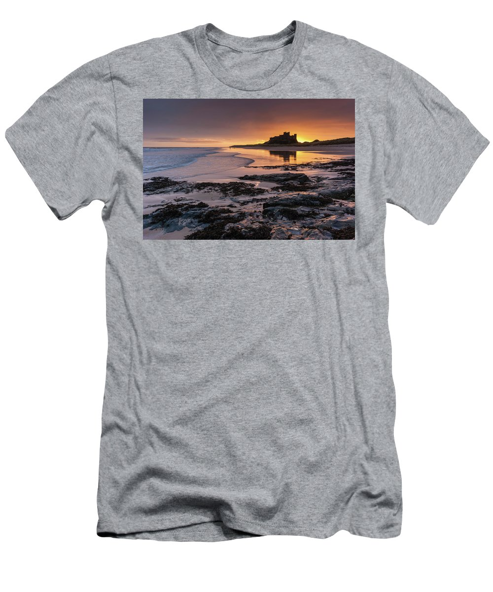 Sunrise T-Shirt featuring the photograph Sunrise at Bamburgh Castle #4, Northumberland, North East England by Anthony Lawlor