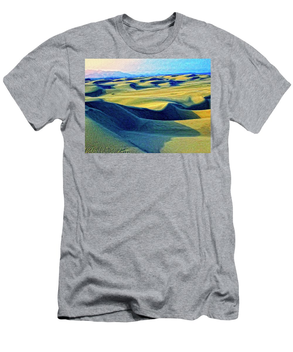 Sunrise At Oceano Sand Dunes Men's T-Shirt (Athletic Fit) featuring the painting Sunrise At Oceano Sand Dunes by Dominic Piperata