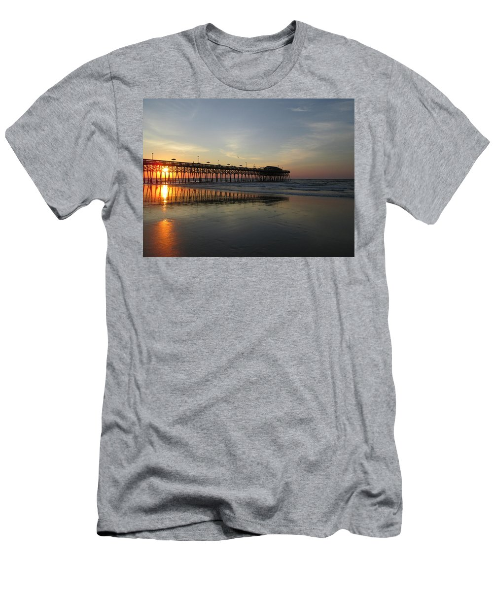 Pier Men's T-Shirt (Athletic Fit) featuring the photograph Sunrise At The Pier by Jeanette Conrad
