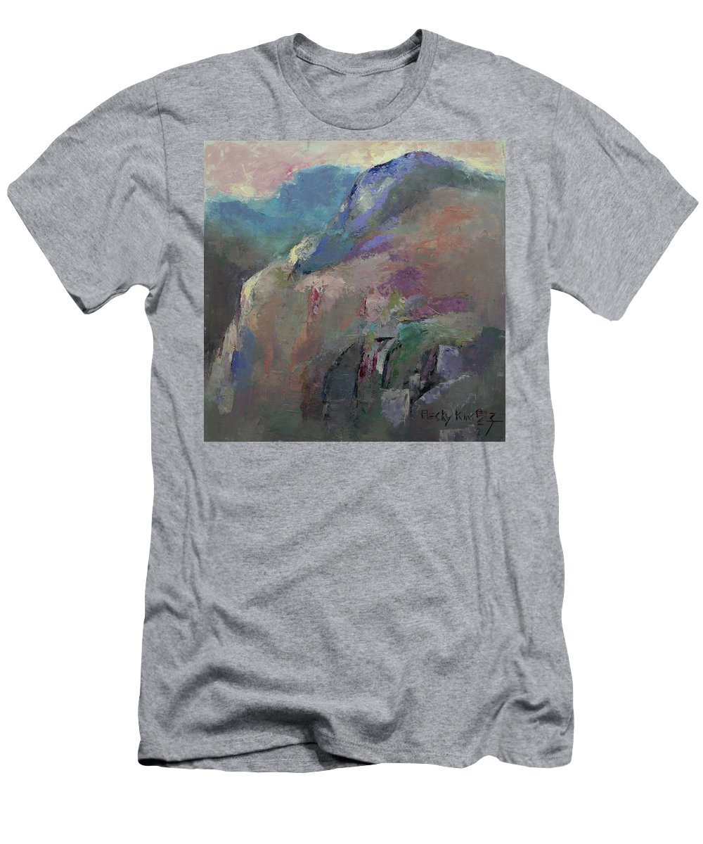 Landscape Men's T-Shirt (Athletic Fit) featuring the painting Sunrise by Becky Kim