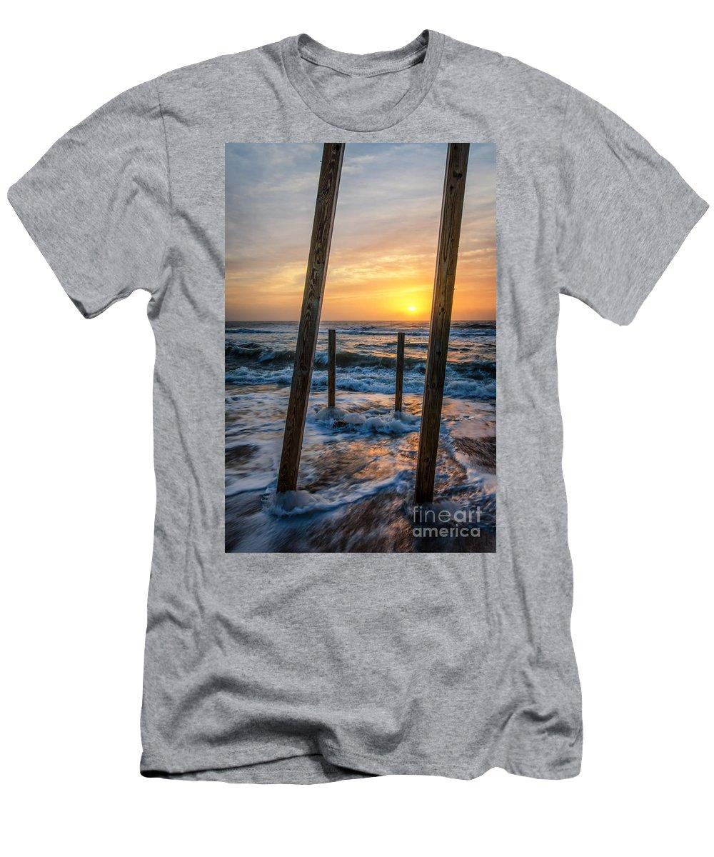 Beach Men's T-Shirt (Athletic Fit) featuring the photograph Sunrise Between The Pillars Landscape Photograph by Melissa Fague