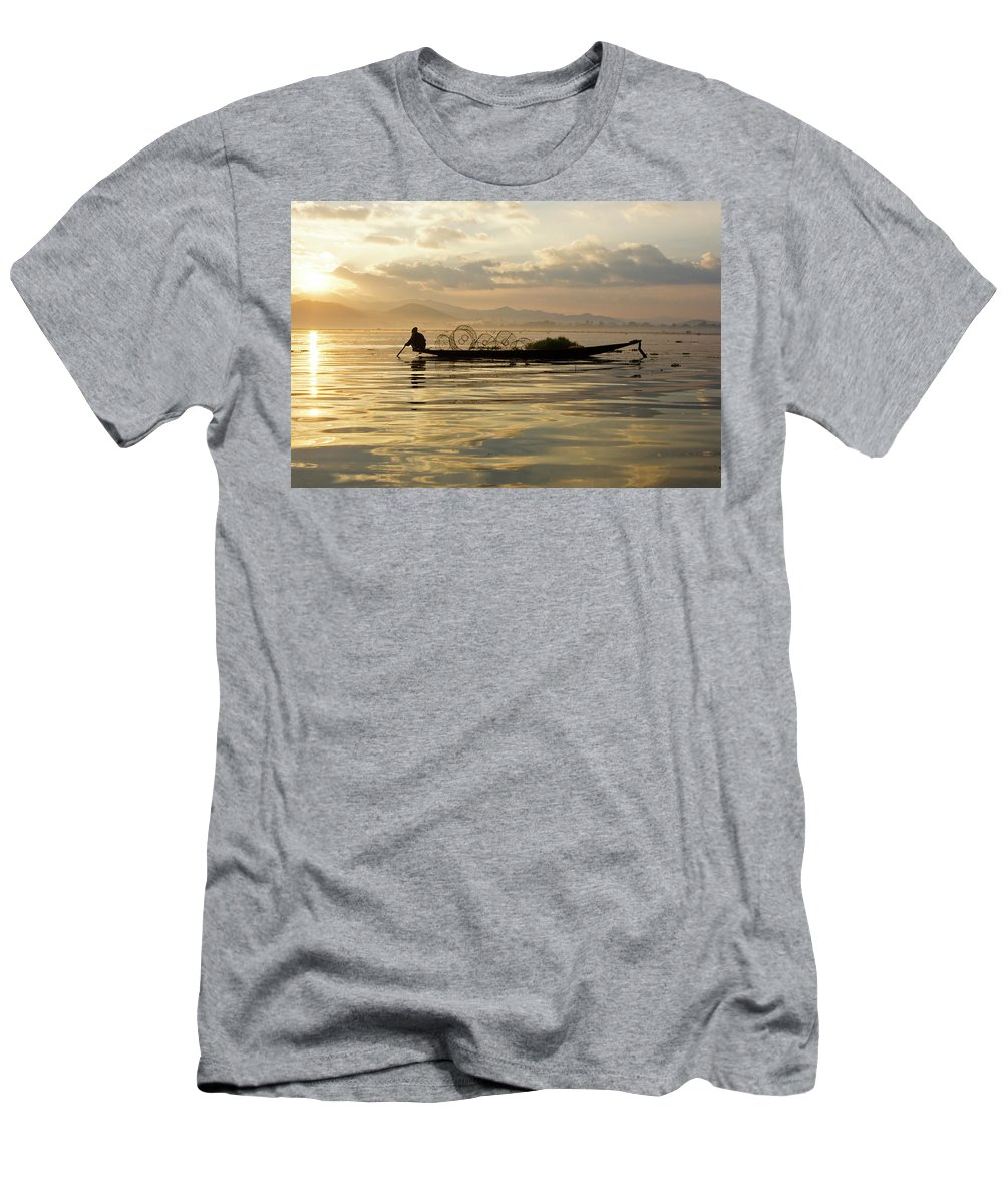 Asia Men's T-Shirt (Athletic Fit) featuring the photograph Sunrise Fisherman by Michele Burgess