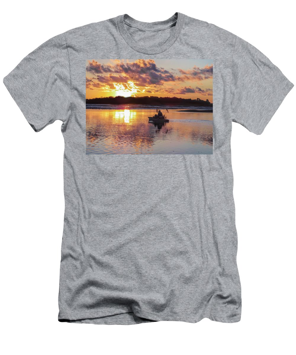 Murrells Inlet Men's T-Shirt (Athletic Fit) featuring the photograph Sunrise In Murrells Inlet, Sc by Terry Shoemaker