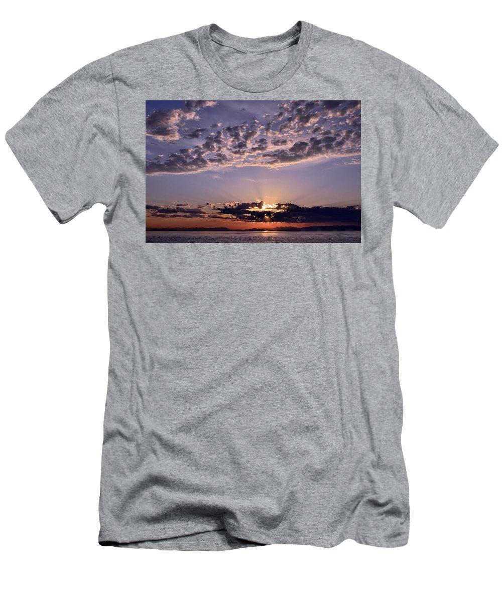 Sunrise Men's T-Shirt (Athletic Fit) featuring the photograph Sunrise by Larry Poulsen