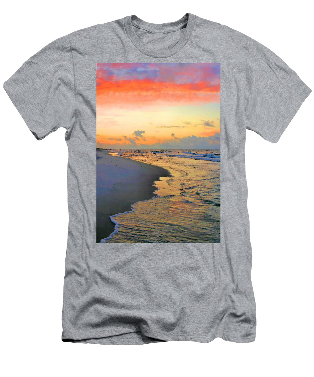 Sunrise Men's T-Shirt (Athletic Fit) featuring the photograph Sunrise On The Gulf by Kristin Elmquist