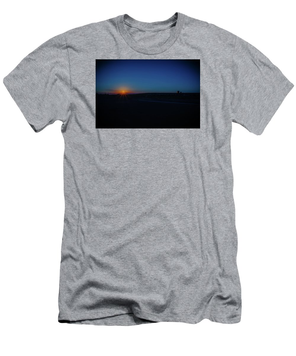 Sunrise Men's T-Shirt (Athletic Fit) featuring the photograph Sunrise On The Reservation by Mark Dunton