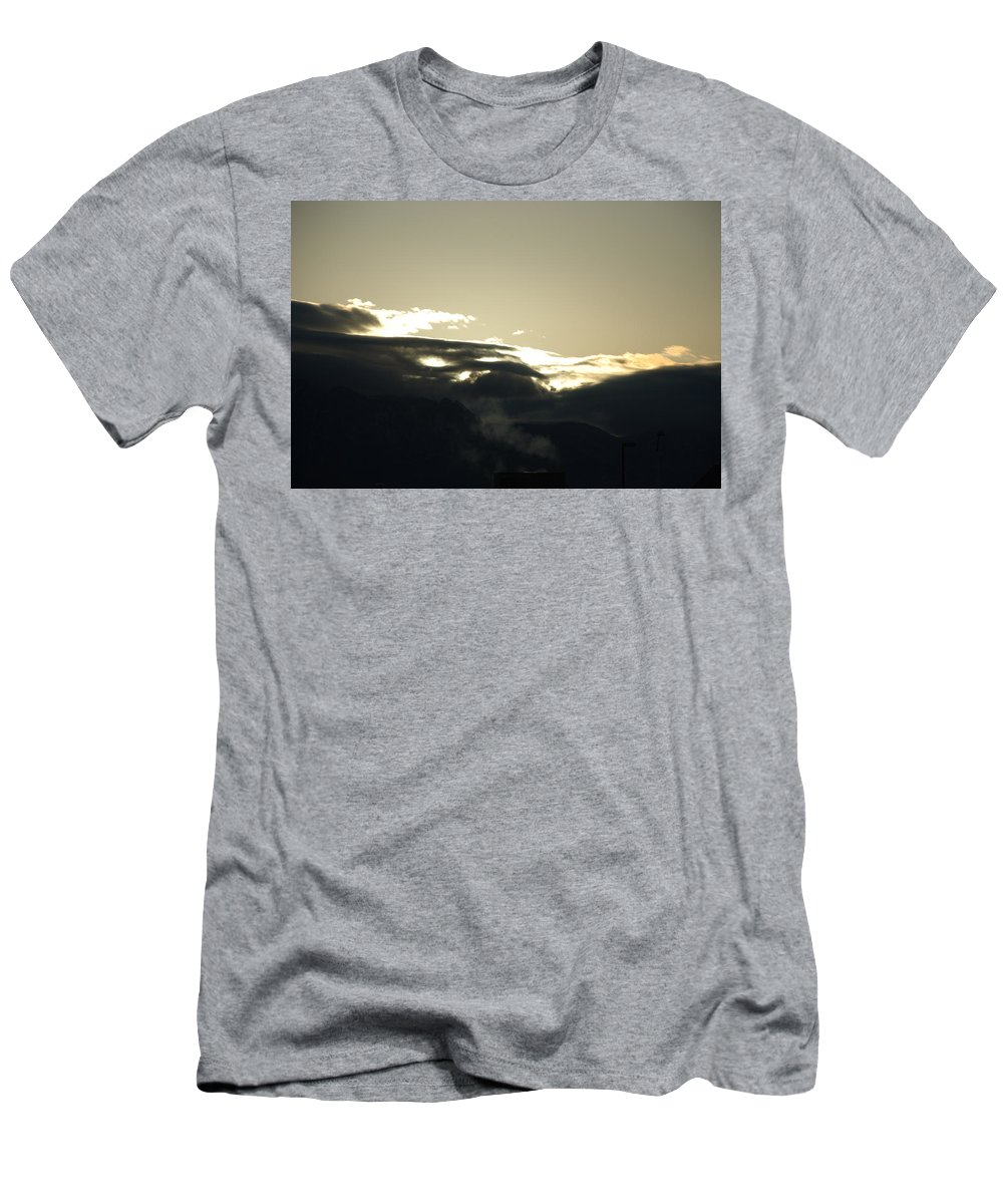 Sunrise Men's T-Shirt (Athletic Fit) featuring the photograph Sunrise Over The Sandias by Rob Hans
