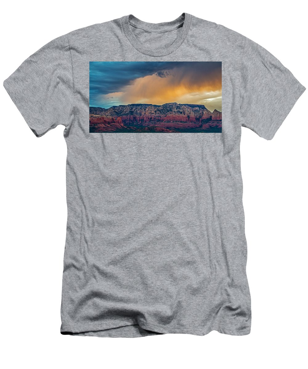 Sunrise Men's T-Shirt (Athletic Fit) featuring the photograph Sunrise Storm Over Sedona by Susan Westervelt