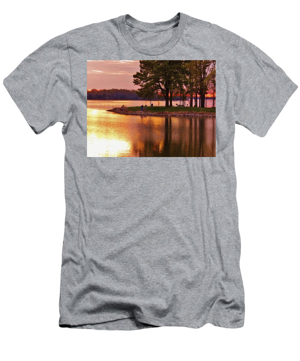 Sunset Men's T-Shirt (Athletic Fit) featuring the photograph Sunrise-sunset 5 by Ron Emery