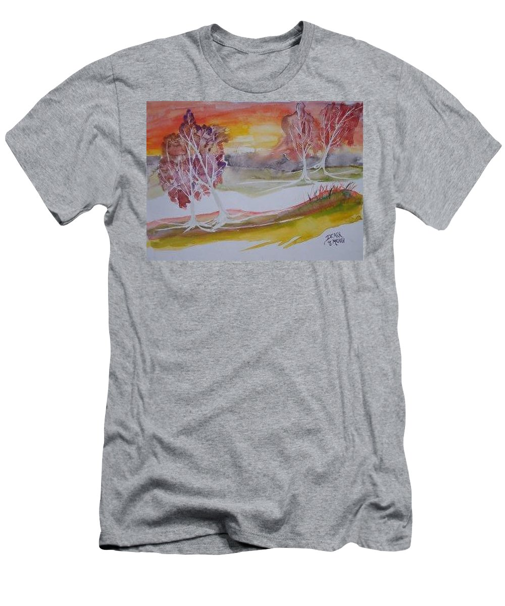 Impressionistic Men's T-Shirt (Athletic Fit) featuring the painting Sunrise Surreal Modern Landscape Painting Fine Art Poster Print by Derek Mccrea