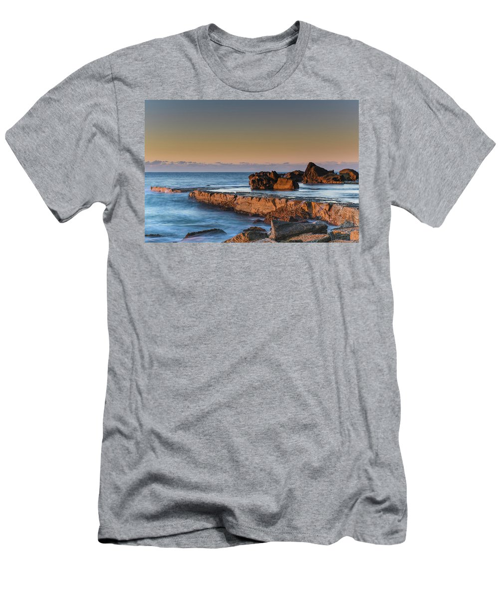 Australia Men's T-Shirt (Athletic Fit) featuring the photograph Sunrise, The Sea And Tessellated Rock Platform by Merrillie Redden