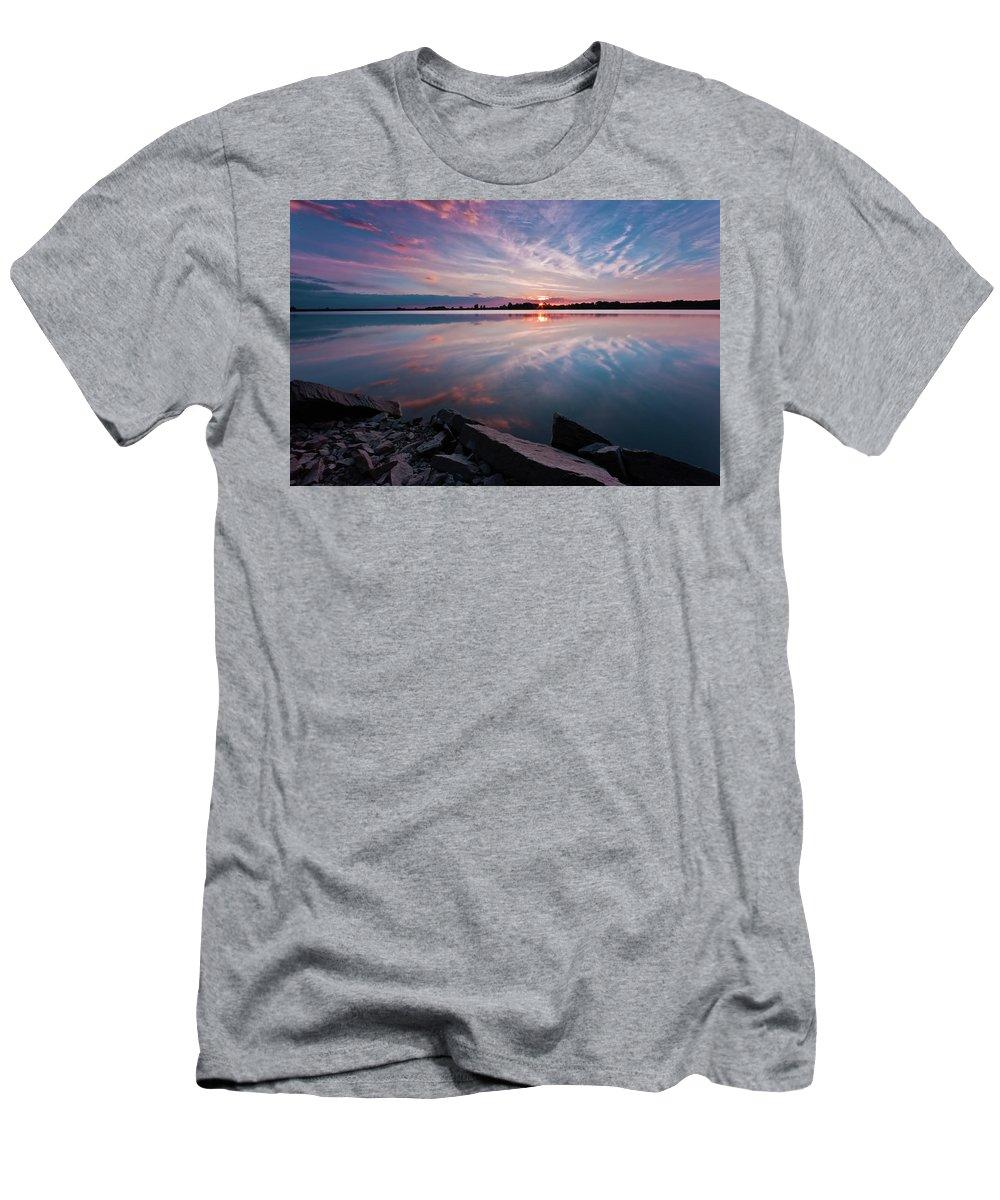 Sunrise T-Shirt featuring the photograph Sunset at Anglezarke Reservoir #1, Rivington, Lancashire, North West England by Anthony Lawlor