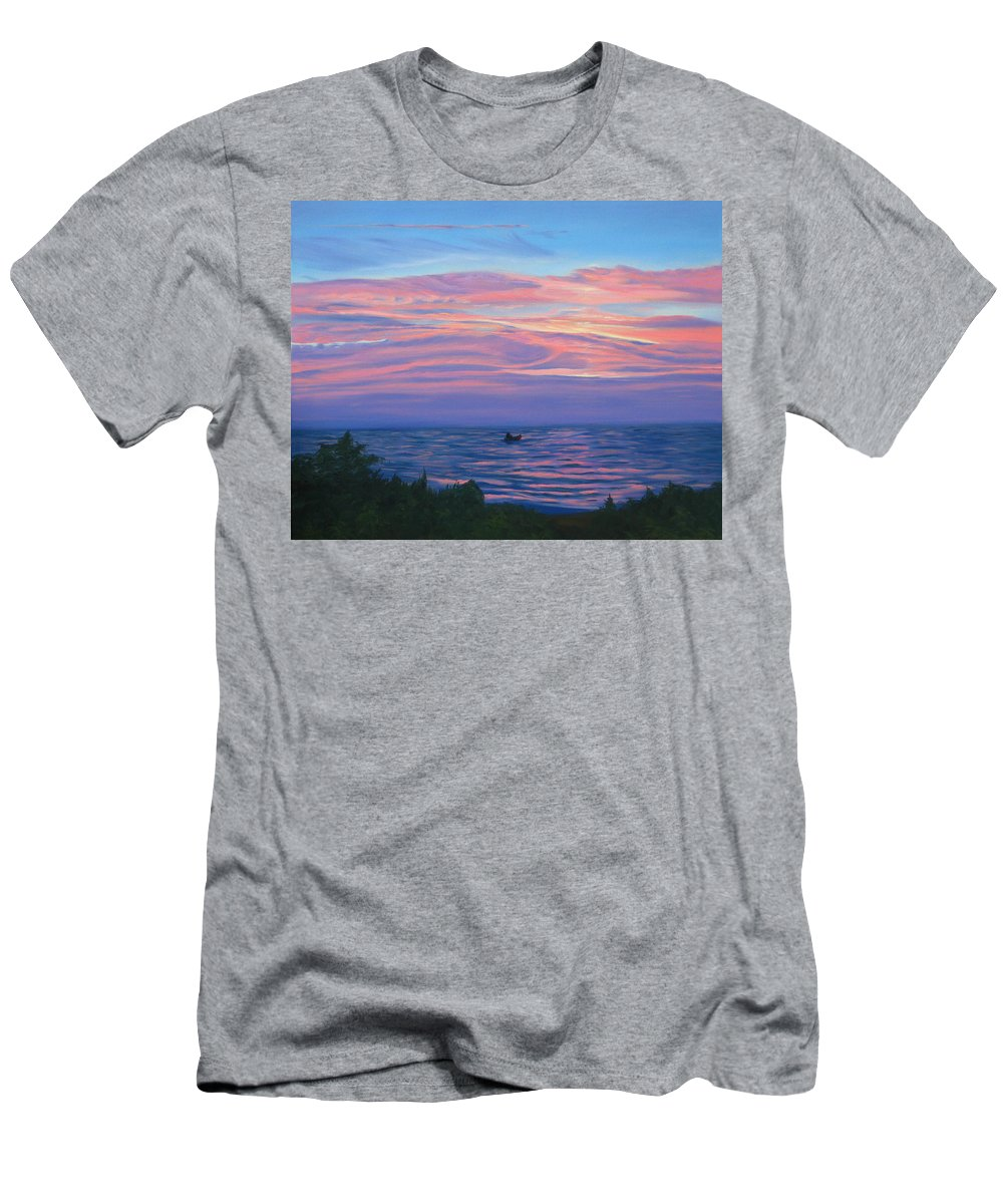 Seascape Men's T-Shirt (Athletic Fit) featuring the painting Sunset Bay by Lea Novak