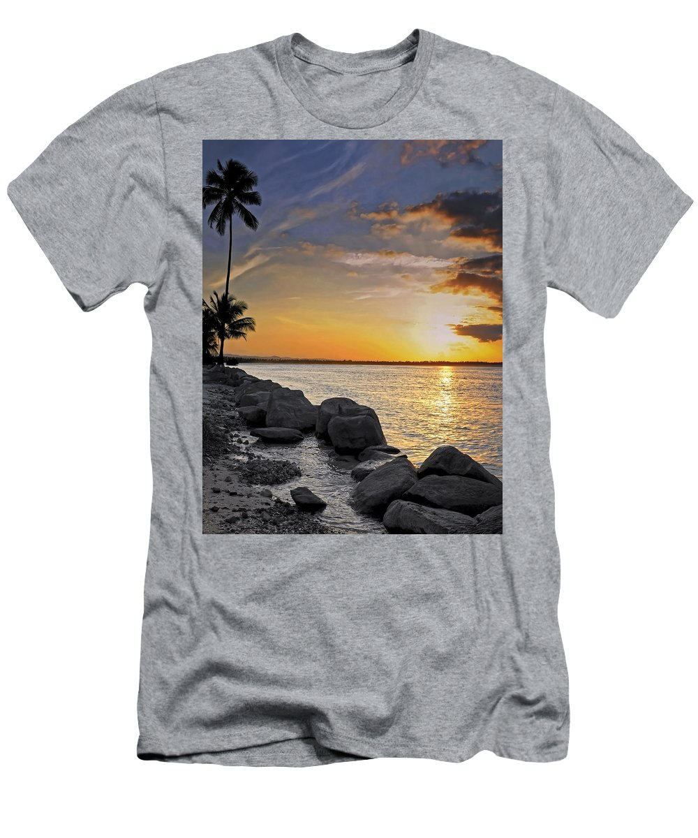 Caribbean Men's T-Shirt (Athletic Fit) featuring the photograph Sunset Caribe by Stephen Anderson