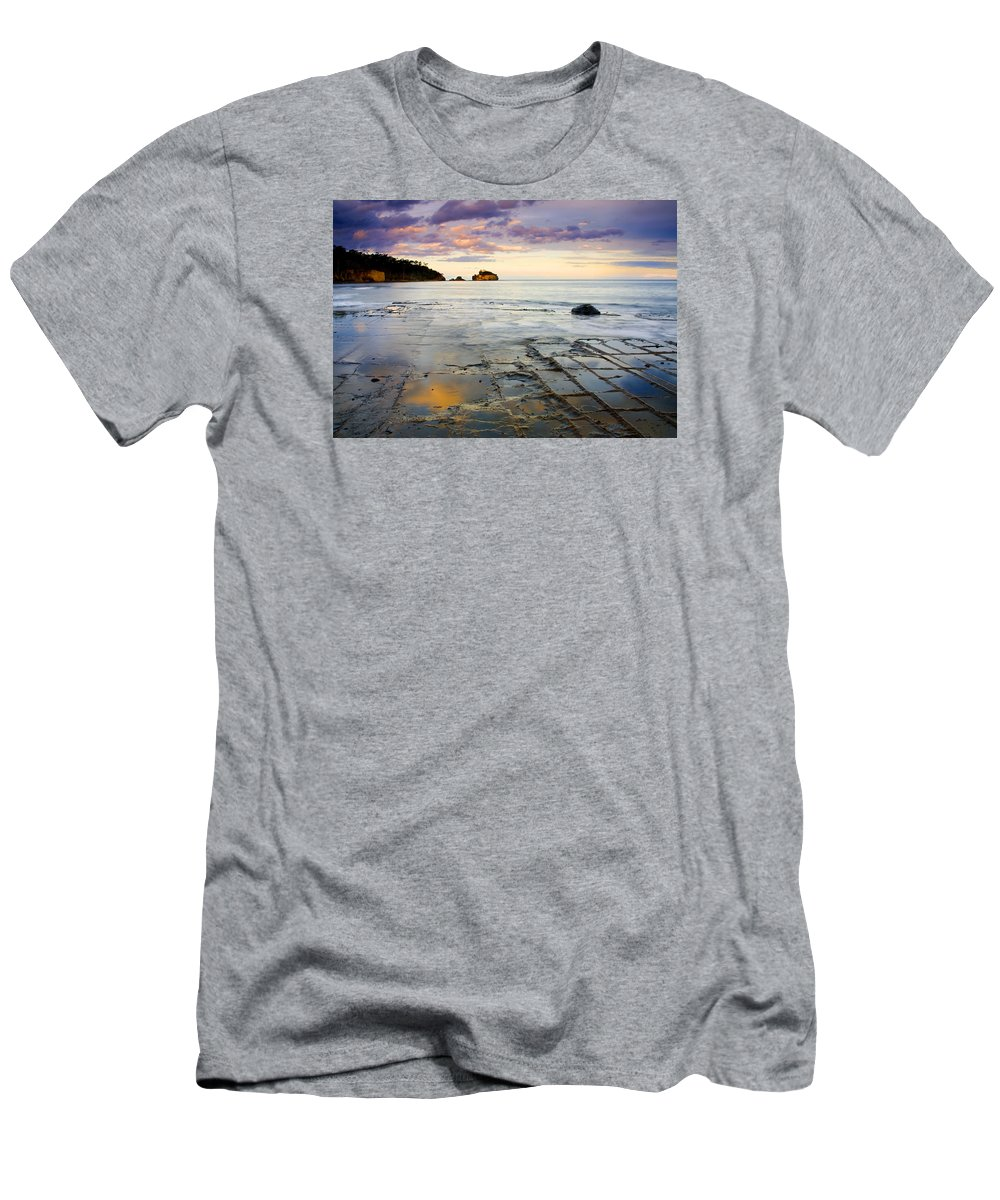 Tesselated Pavement Men's T-Shirt (Athletic Fit) featuring the photograph Sunset Grid by Mike Dawson
