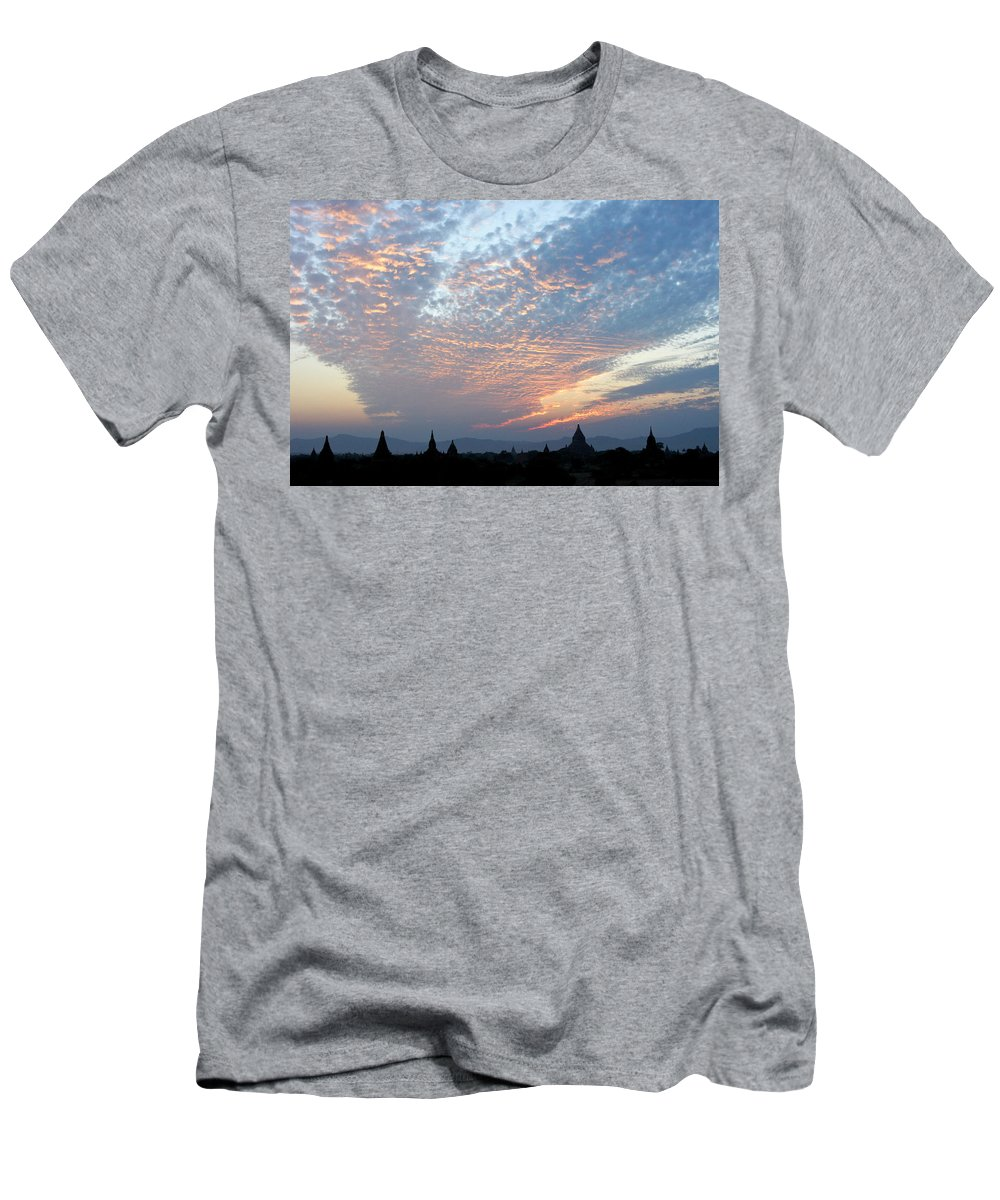 Asia Men's T-Shirt (Athletic Fit) featuring the photograph Sunset In Bagan by Michele Burgess