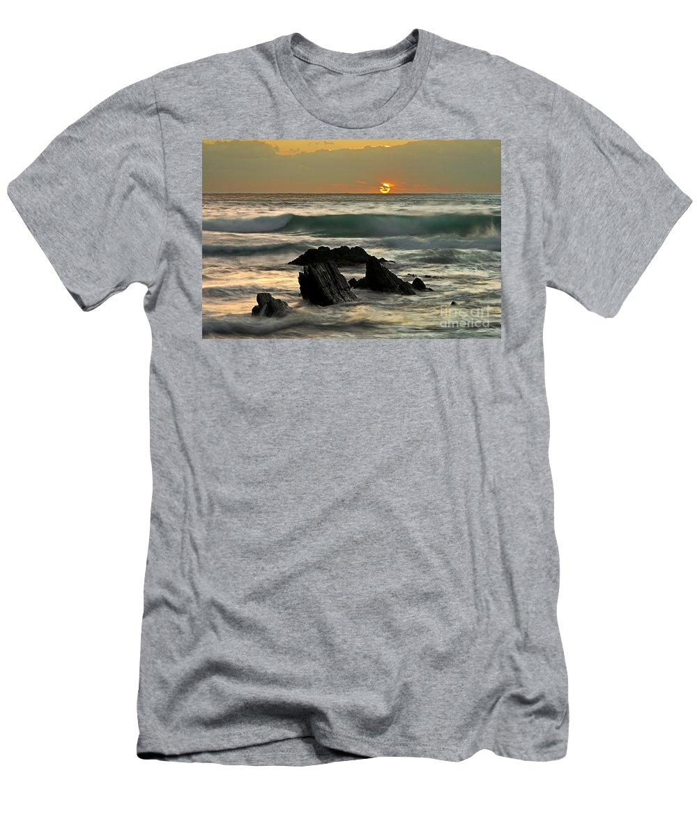 Sea Men's T-Shirt (Athletic Fit) featuring the photograph Sunset In Masua Beach by Fabiano Caddeo
