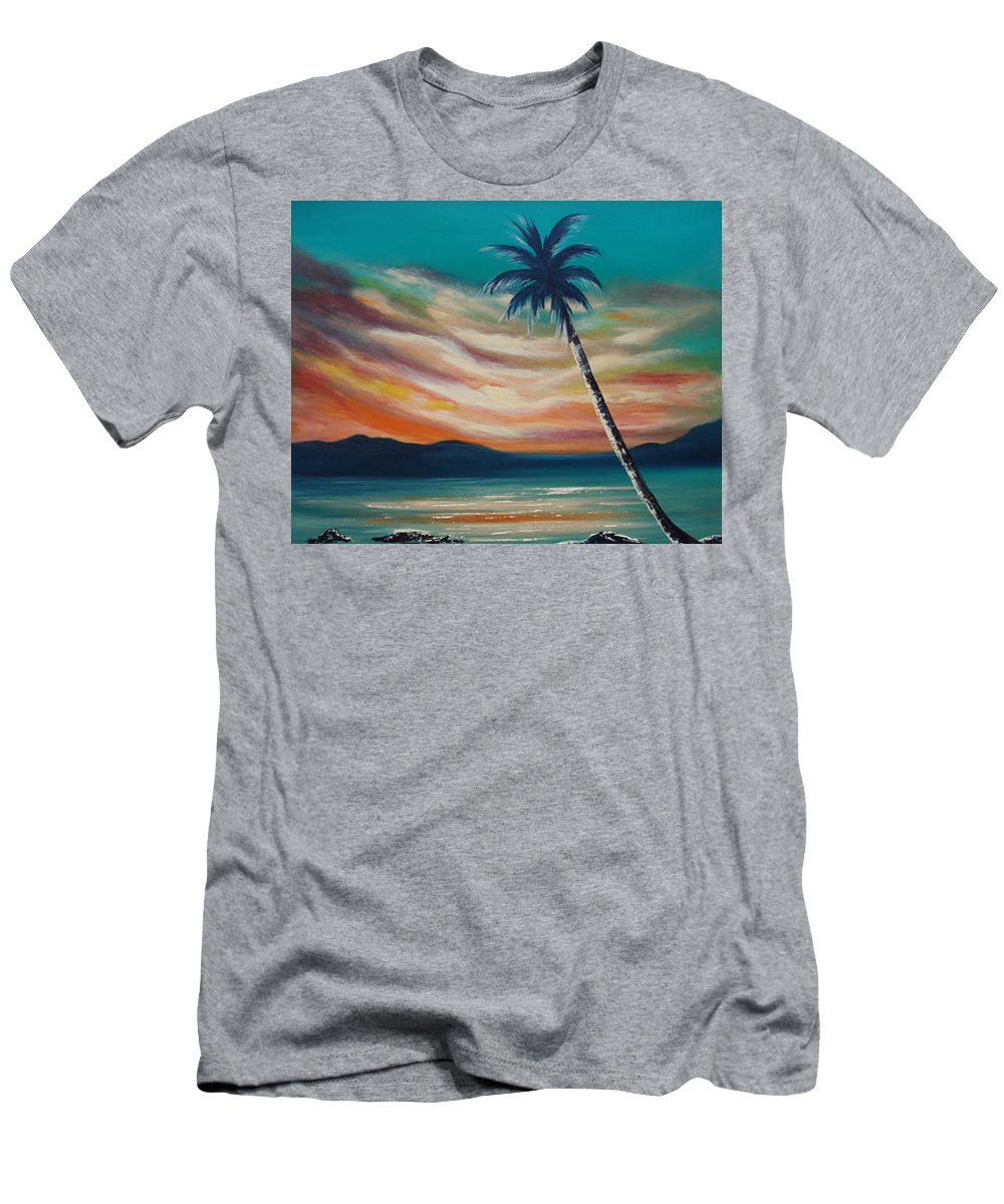 Sunset Men's T-Shirt (Athletic Fit) featuring the painting Sunset In Paradise by Gina De Gorna