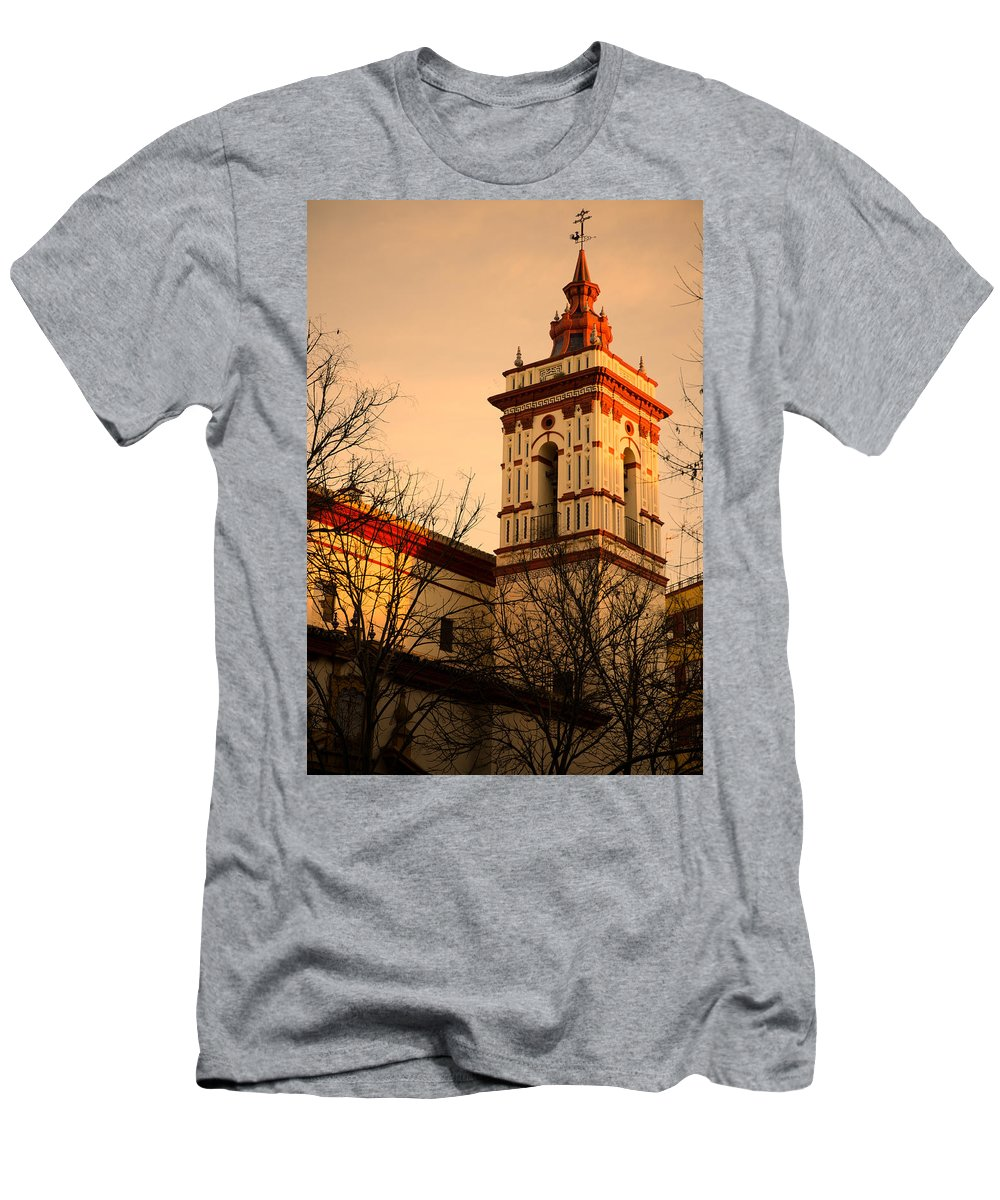 Iglesia Men's T-Shirt (Athletic Fit) featuring the photograph Sunset In Seville - San Roque by Andrea Mazzocchetti