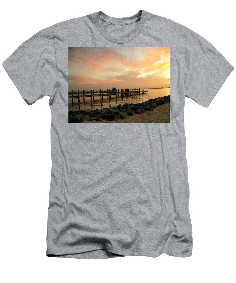 Dock Men's T-Shirt (Athletic Fit) featuring the photograph Sunset On Dewey Bay by Trish Tritz