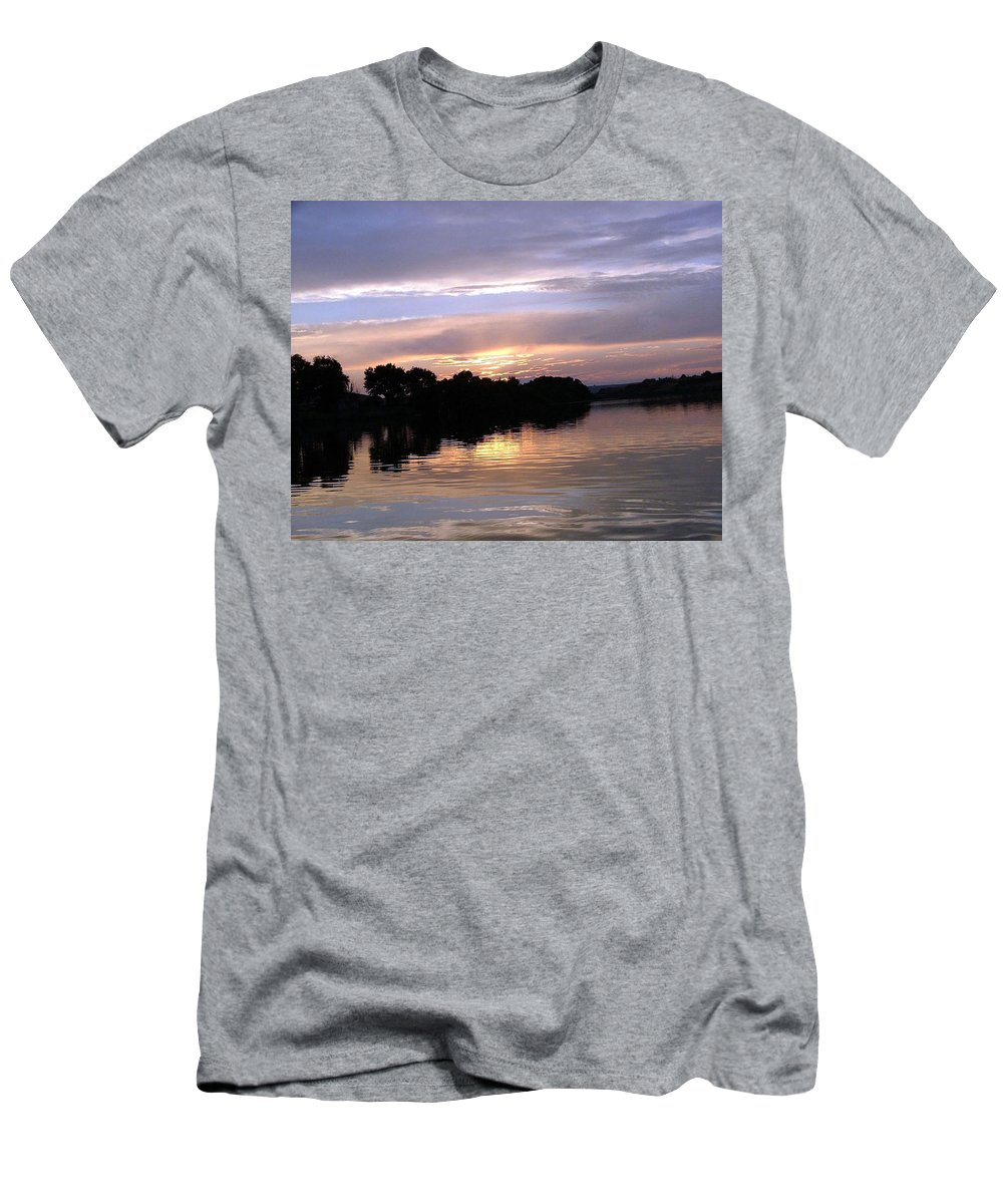 Snake River Men's T-Shirt (Athletic Fit) featuring the photograph Sunset On The Snake by Dawn Blair