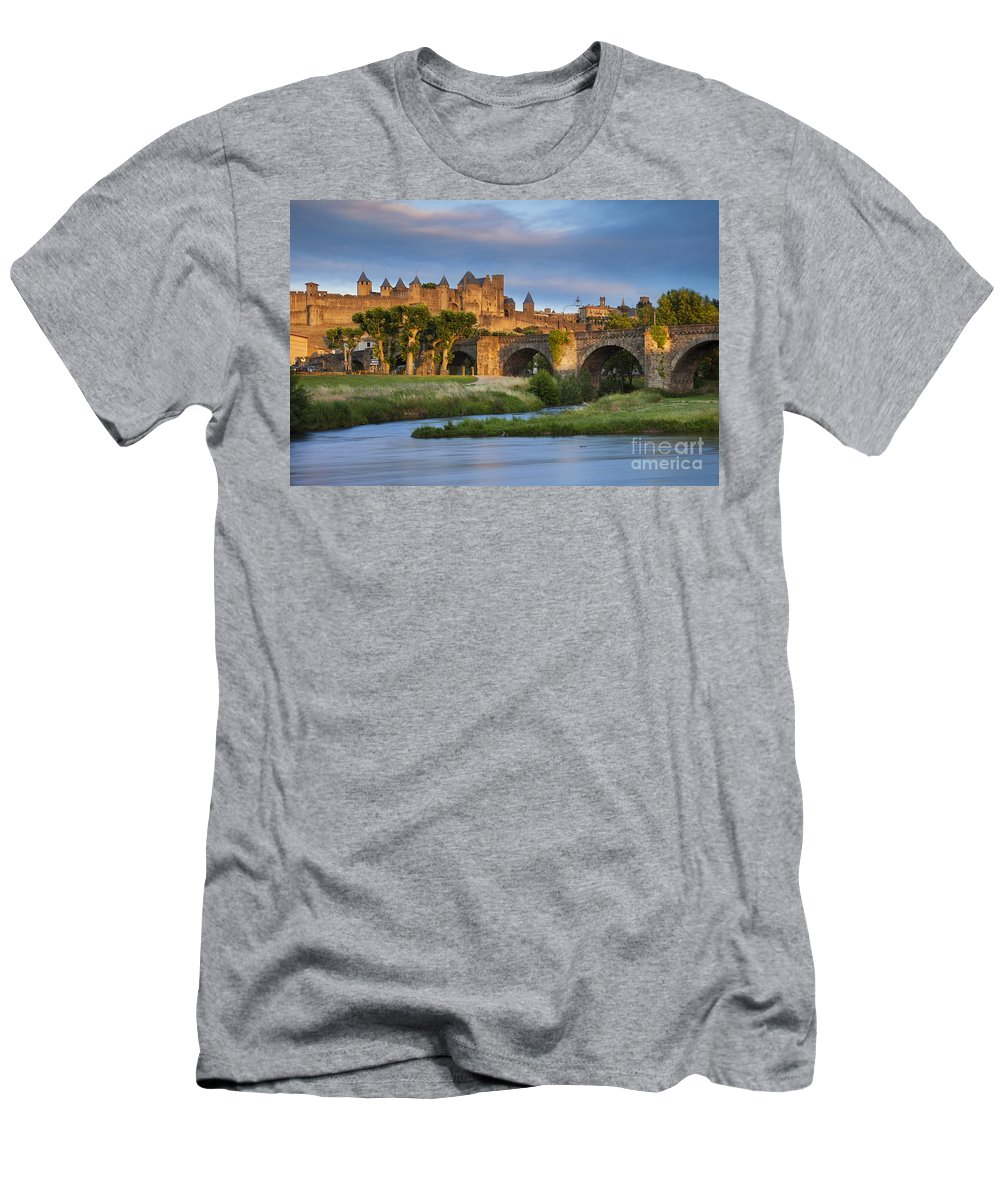 Arch Men's T-Shirt (Athletic Fit) featuring the photograph Sunset Over Carcassonne by Brian Jannsen