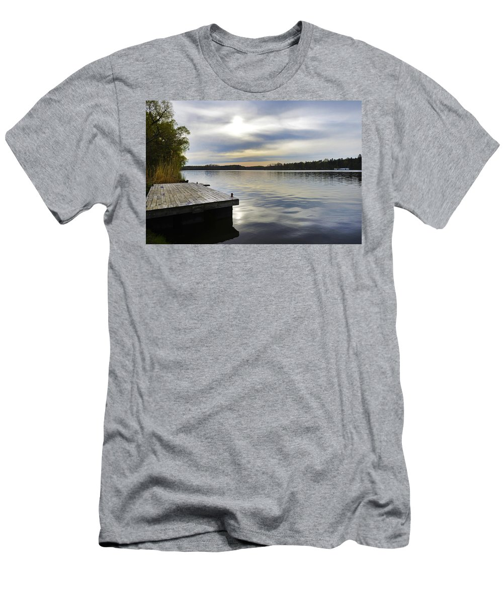 Lake Men's T-Shirt (Athletic Fit) featuring the photograph Sunset Over The Lake. by Adriano Bussi