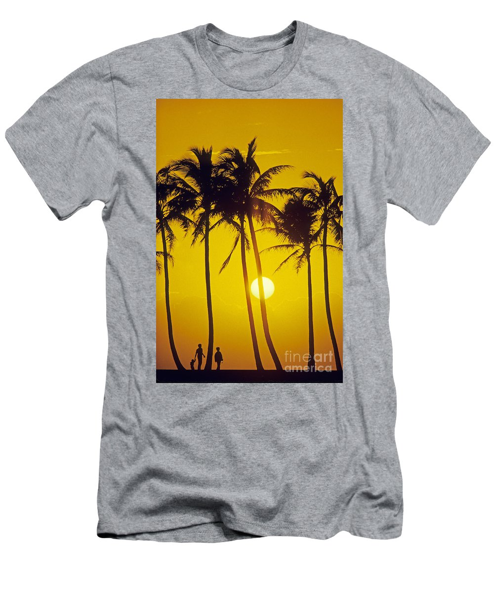 Adult Men's T-Shirt (Athletic Fit) featuring the photograph Sunset Palms And Family by Carl Shaneff - Printscapes