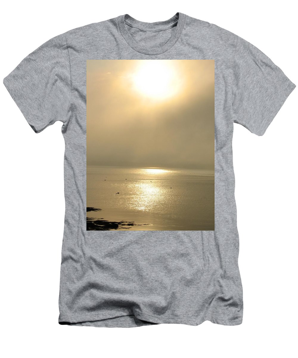 Sun Men's T-Shirt (Athletic Fit) featuring the photograph Sunset Through Fog by Kelly Mezzapelle