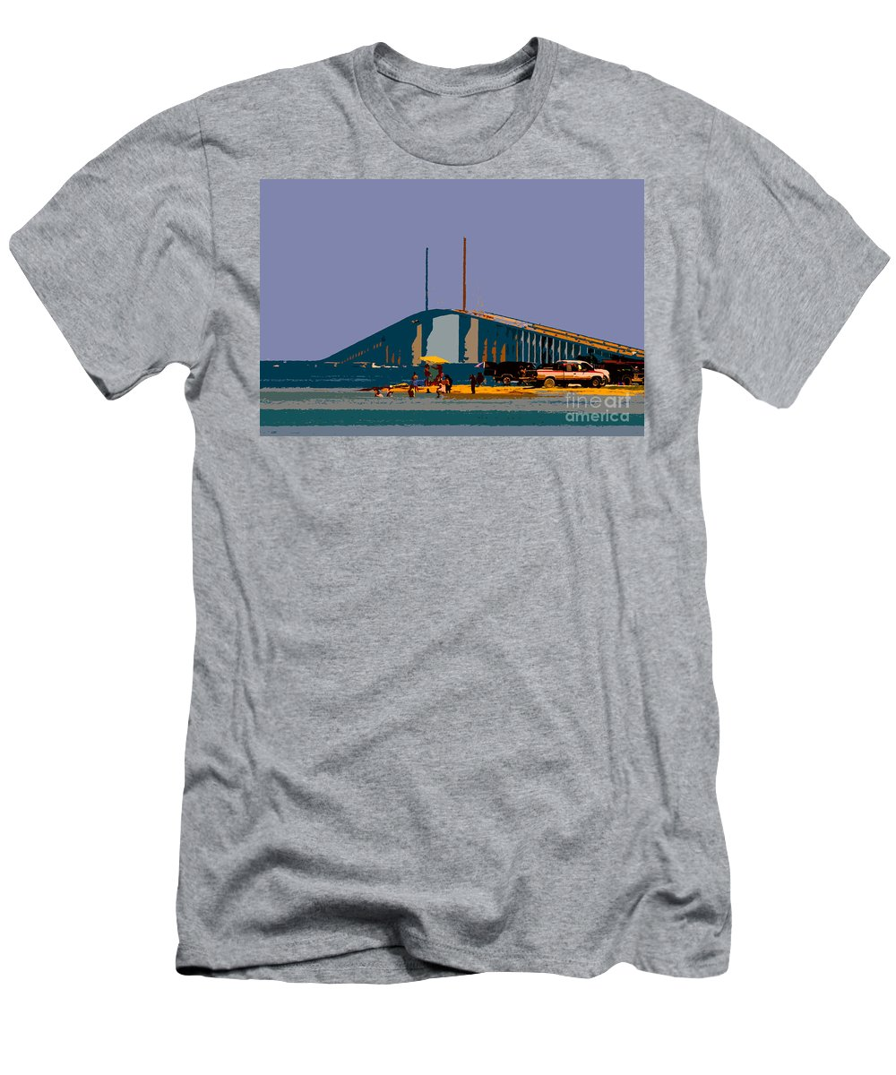 Sunshine Skyway Bridge Men's T-Shirt (Athletic Fit) featuring the photograph Sunshine Skyway by David Lee Thompson