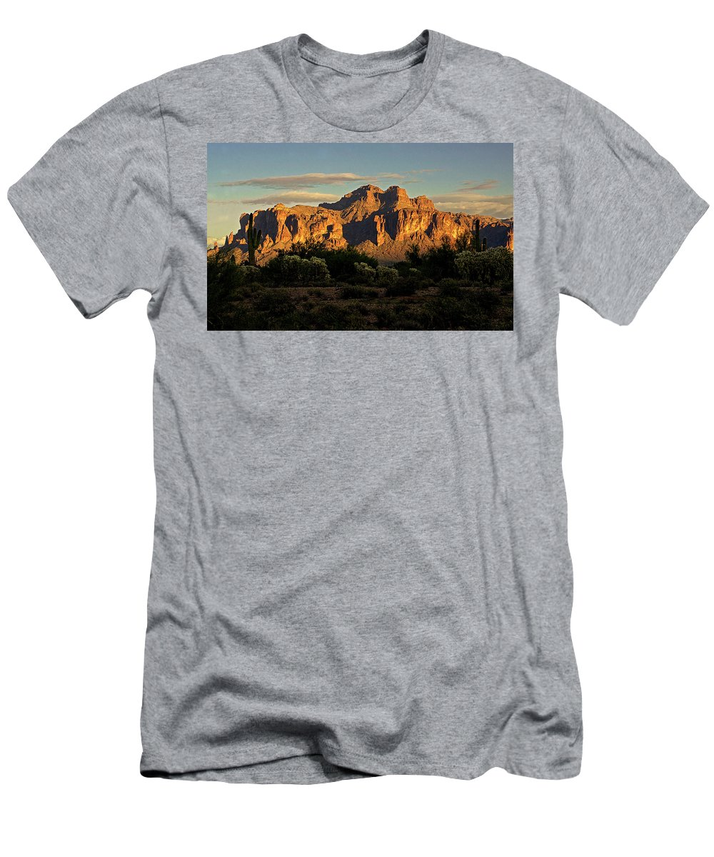 Superstition Mountains Men's T-Shirt (Athletic Fit) featuring the photograph Superstitions At Sunset by Saija Lehtonen