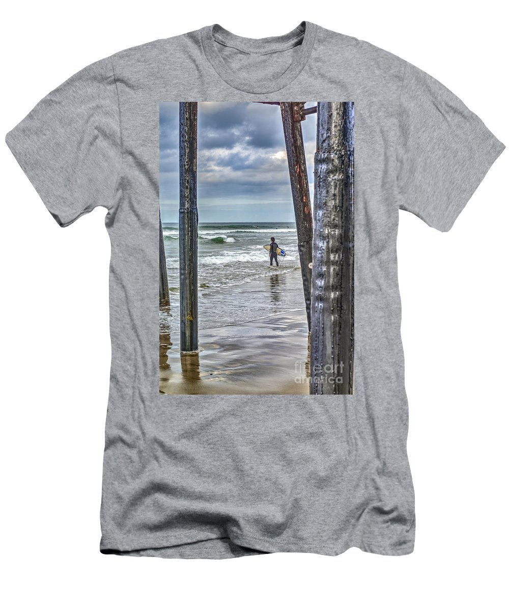 Oceanside Pier Men's T-Shirt (Athletic Fit) featuring the photograph Surfs Up by David Zanzinger