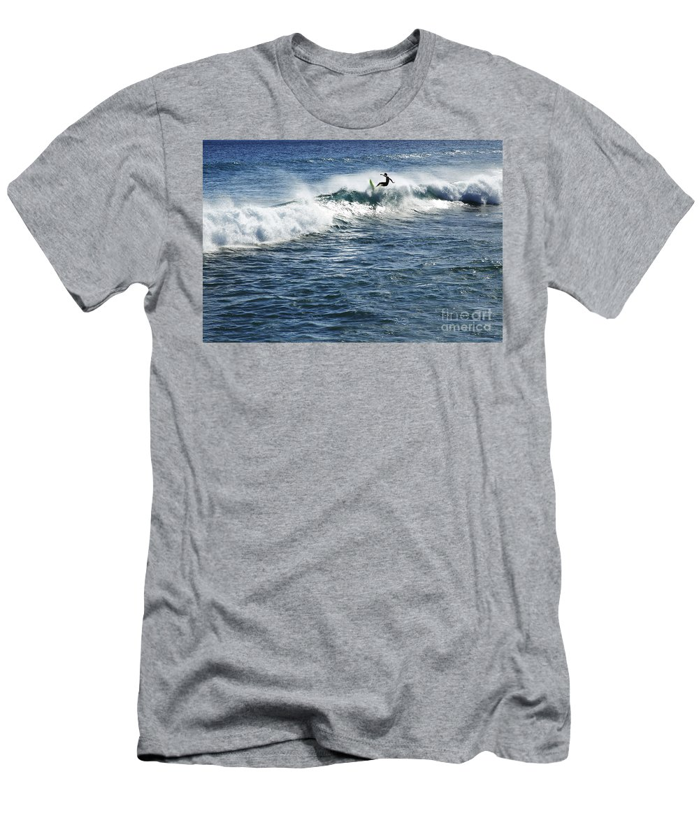 Adrenaline Men's T-Shirt (Athletic Fit) featuring the photograph Surfer Riding A Wave by Brandon Tabiolo - Printscapes
