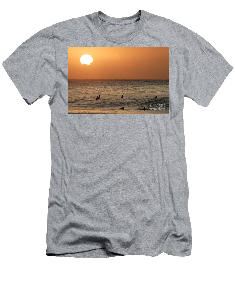 Calm Men's T-Shirt (Athletic Fit) featuring the photograph Surfers At Sunset by Vince Cavataio - Printscapes