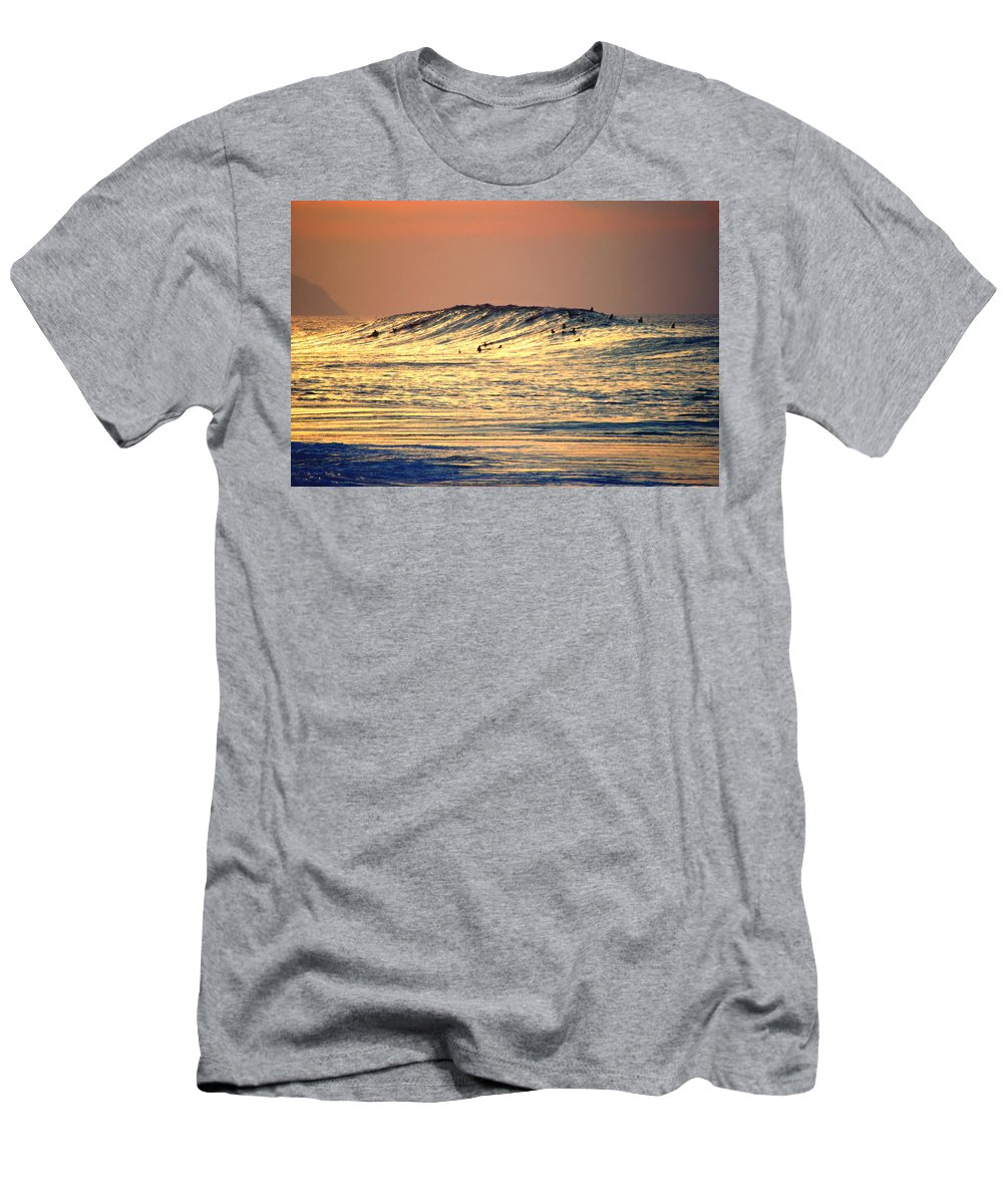 Rock Piles Men's T-Shirt (Athletic Fit) featuring the photograph Surfers Gold by Kevin Smith