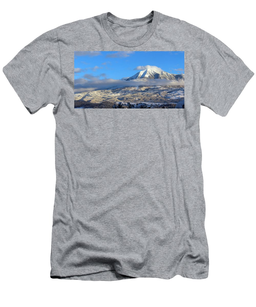 Mountains Men's T-Shirt (Athletic Fit) featuring the photograph Surreal Reality by Samantha Burrow