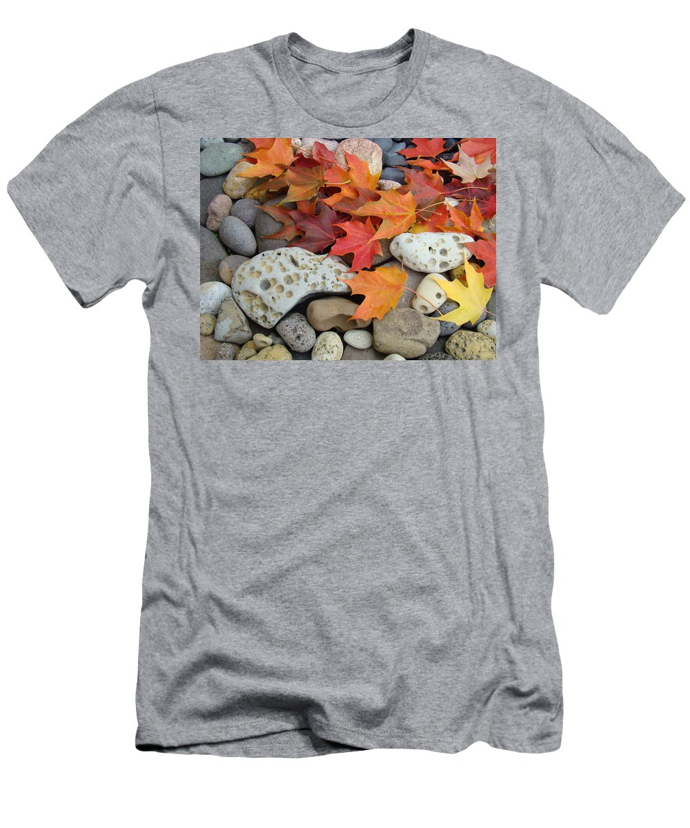 Art Men's T-Shirt (Athletic Fit) featuring the photograph Sweet Autumn 1 Autumn Leaves Rock Designs Photography Digital Art Prints by Baslee Troutman