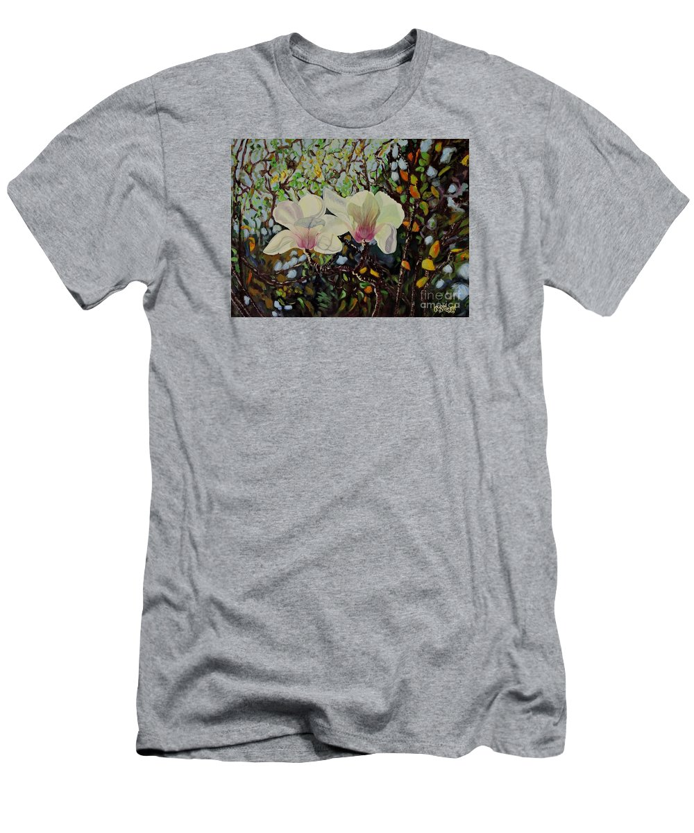 Flowers Men's T-Shirt (Athletic Fit) featuring the painting Sweet Magnolias by Caroline Street
