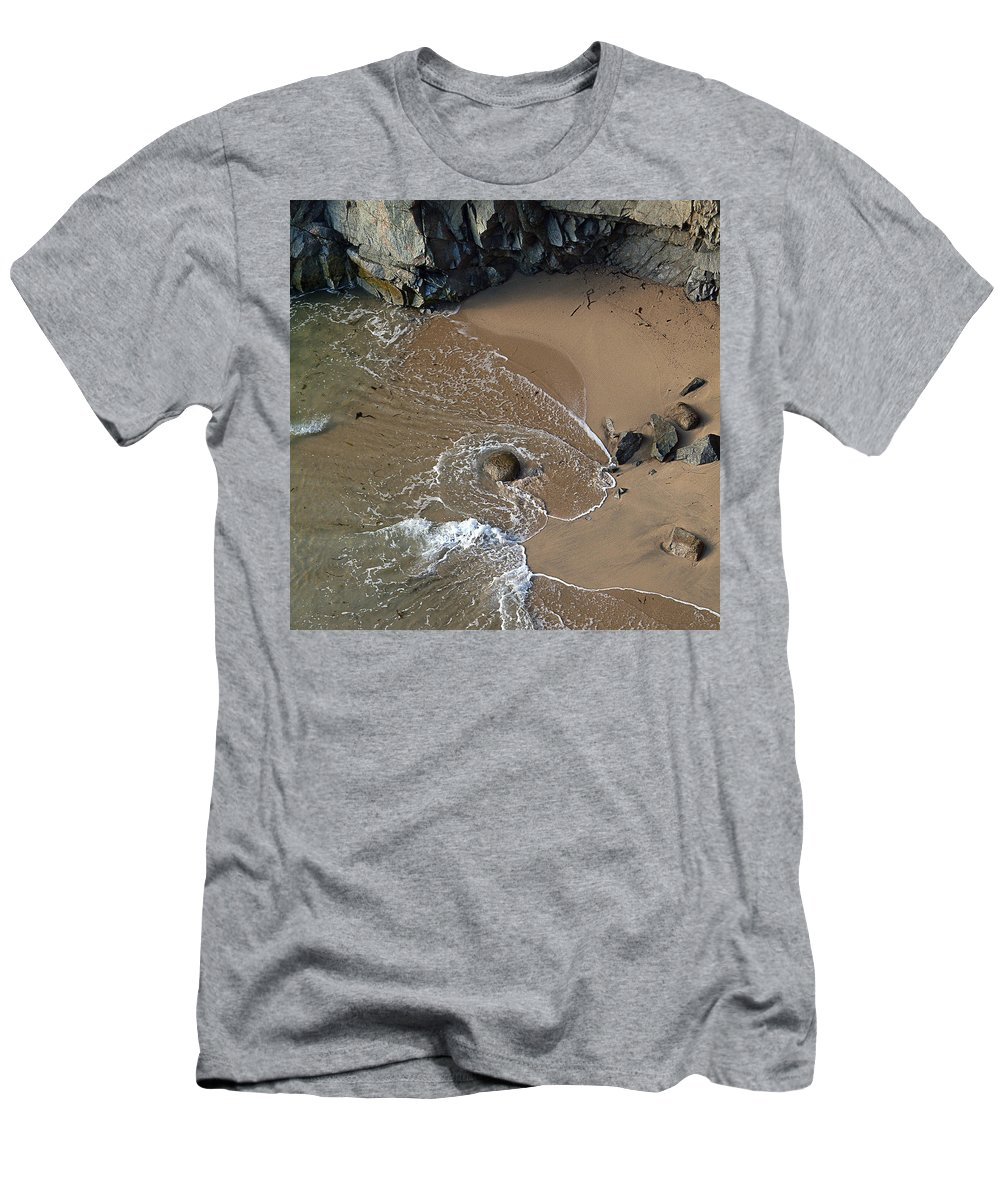 Big Sur Men's T-Shirt (Slim Fit) featuring the photograph Swirling Surf And Rocks by Charlene Mitchell