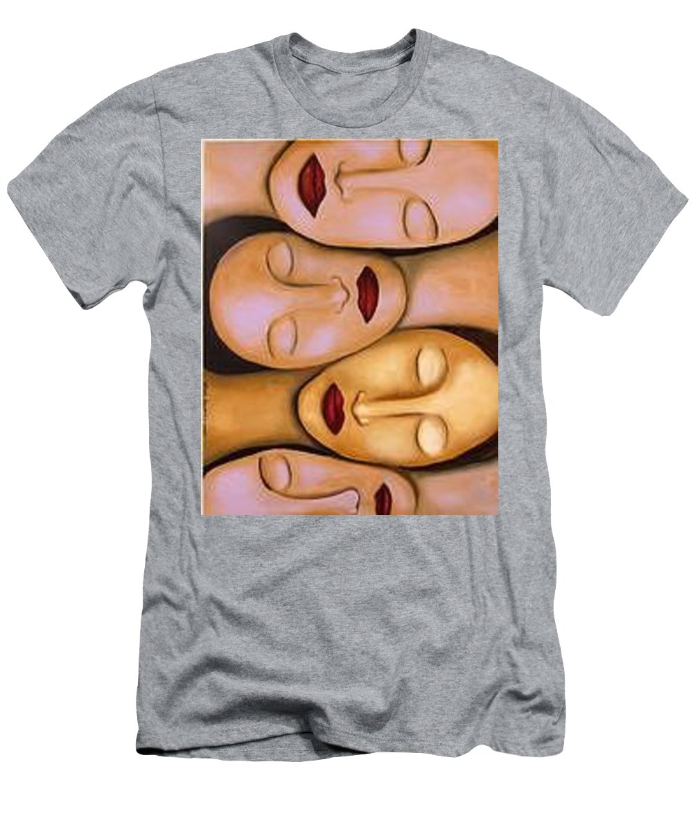 Women Men's T-Shirt (Athletic Fit) featuring the painting Synchronized Meditation by Leah Saulnier The Painting Maniac