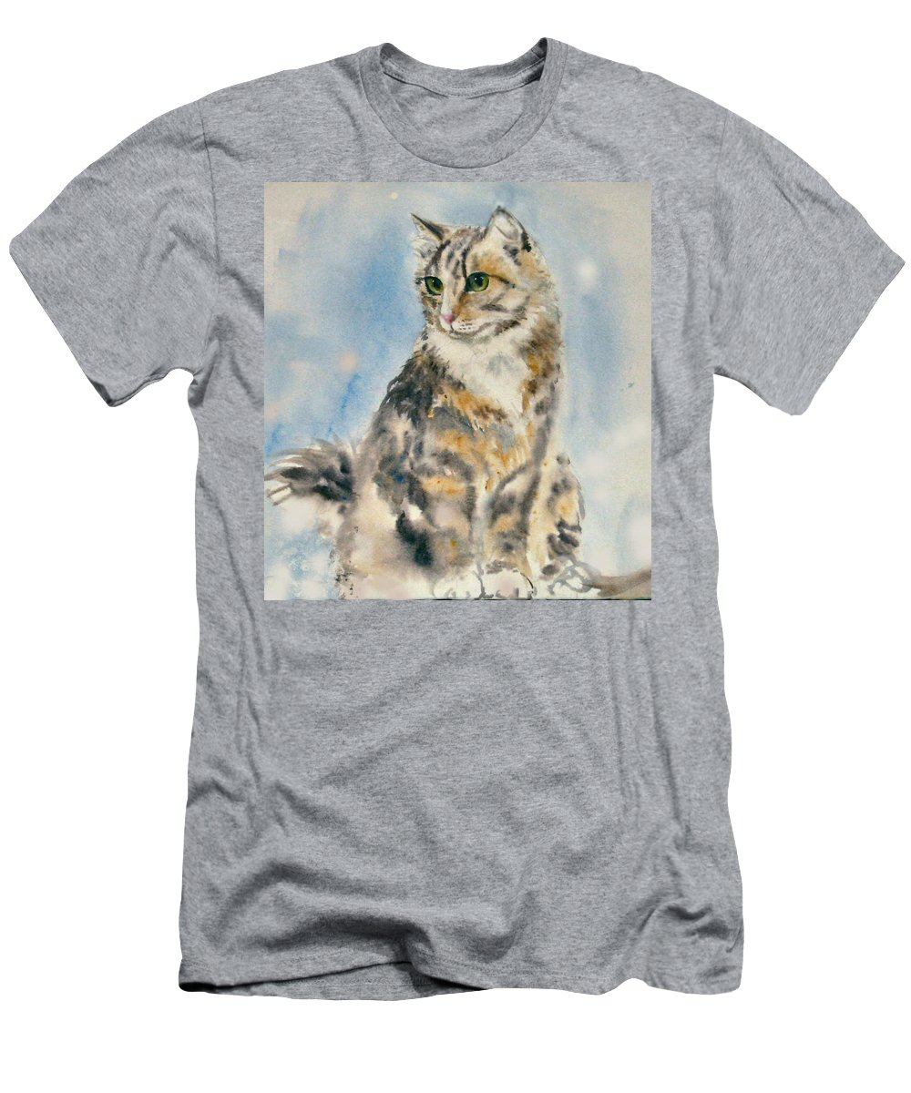 Cat Painting. Original.tabby Cat Men's T-Shirt (Athletic Fit) featuring the painting Tabby Cat by Frances Gillotti