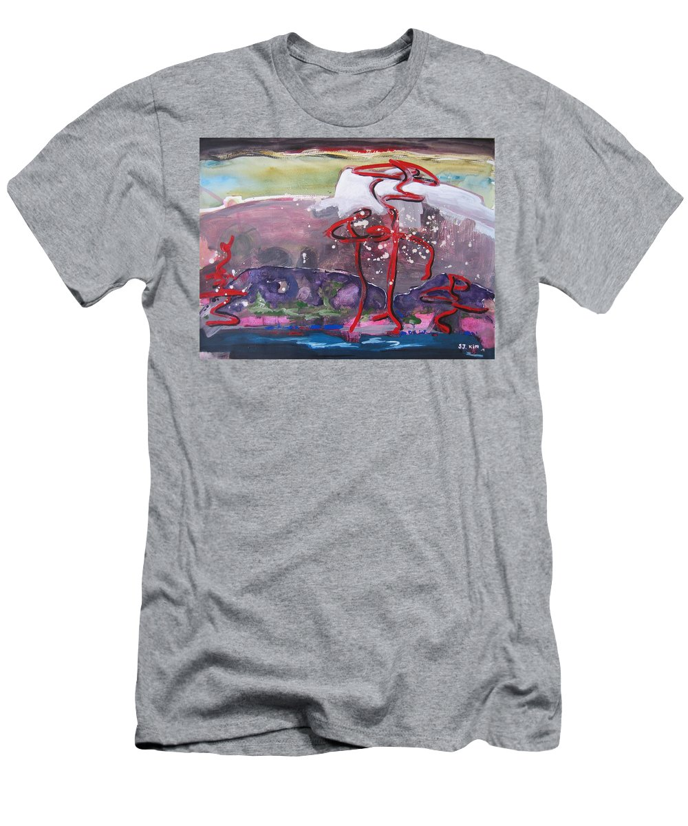 Abstract Paintings Men's T-Shirt (Athletic Fit) featuring the painting Table Land3 by Seon-Jeong Kim