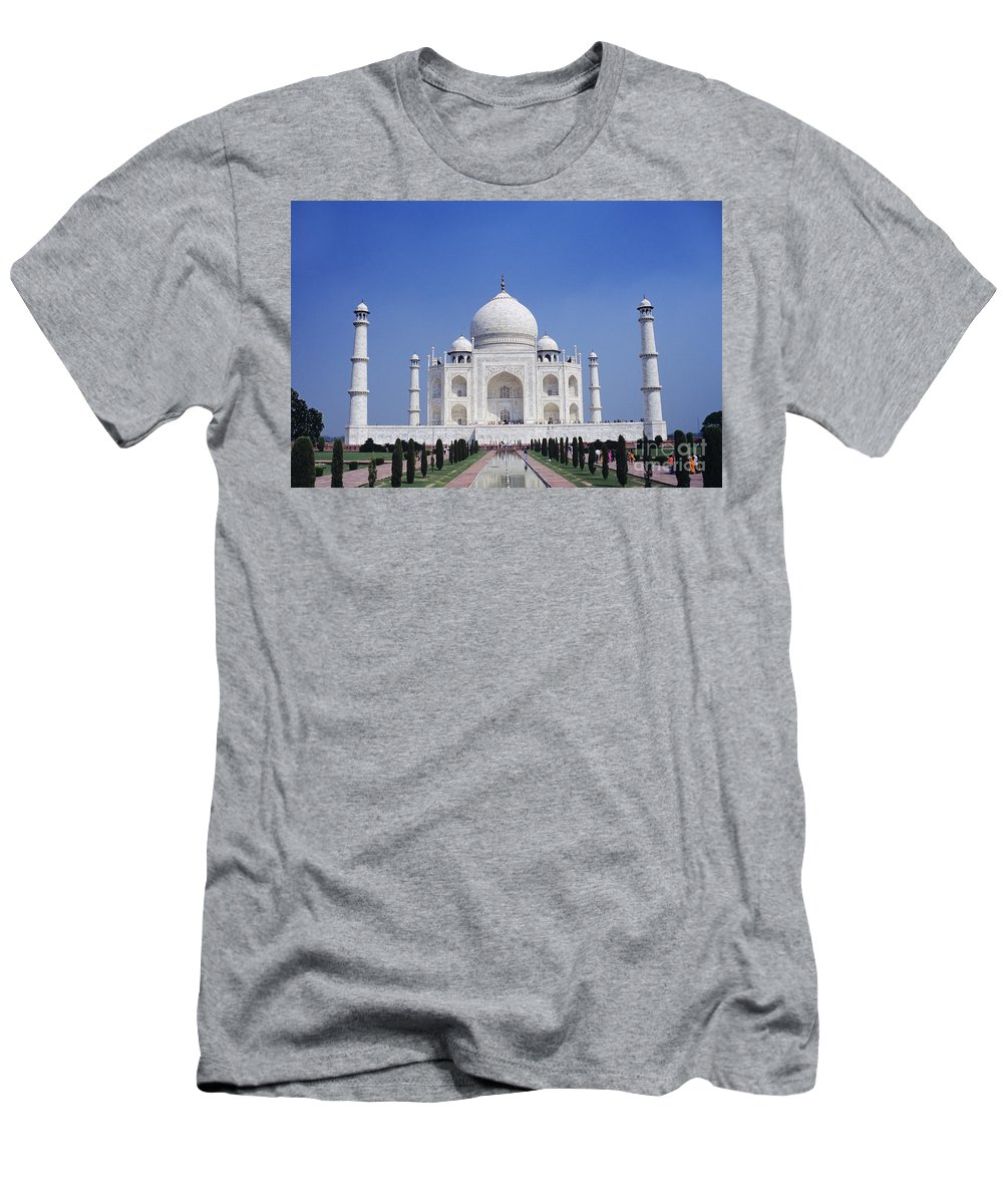 Agra Men's T-Shirt (Athletic Fit) featuring the photograph Taj Mahal Landscape by Gloria & Richard Maschmeyer - Printscapes