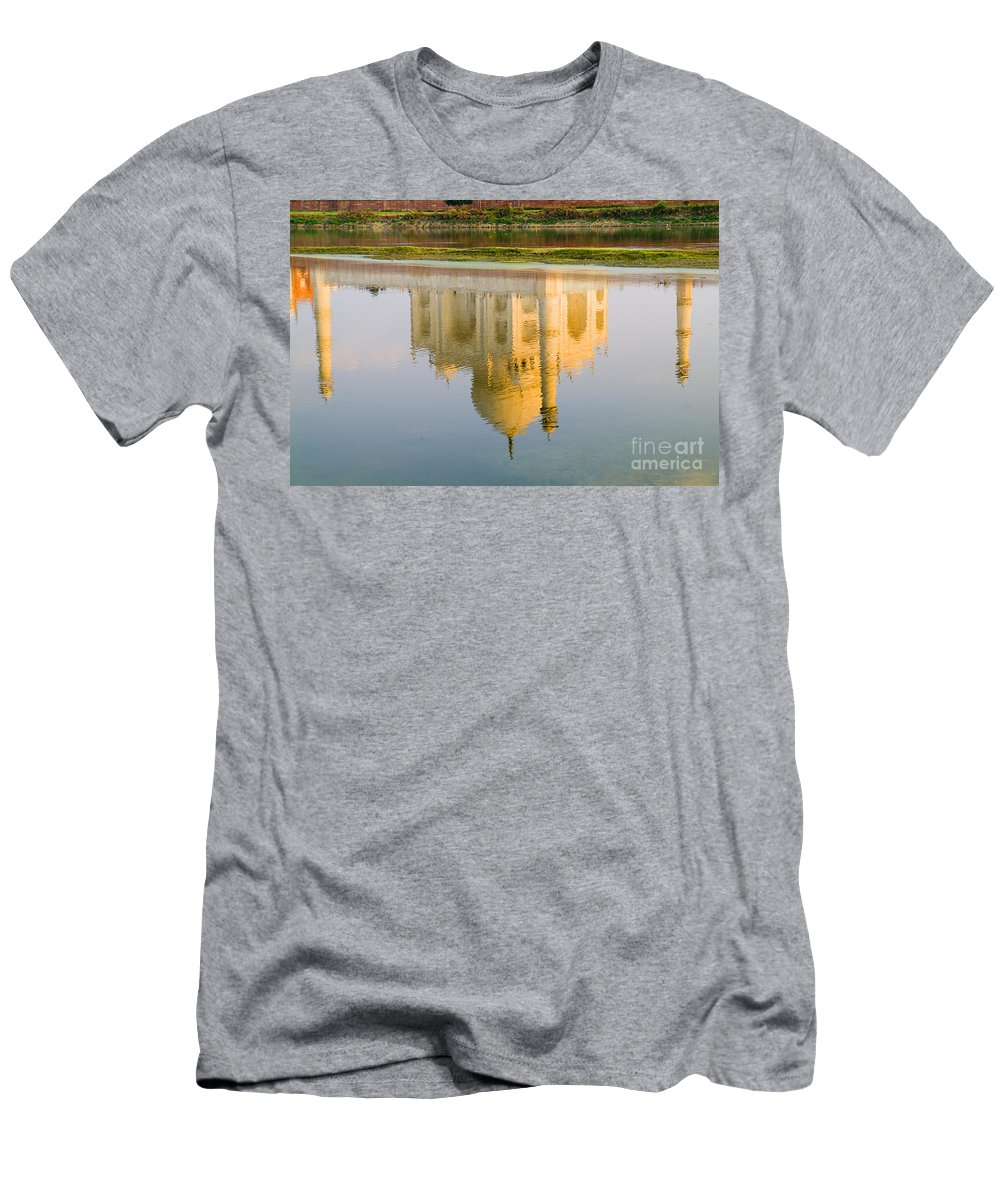 Architecture Men's T-Shirt (Athletic Fit) featuring the photograph Taj Mahal Reflection by Bill Bachmann - Printscapes