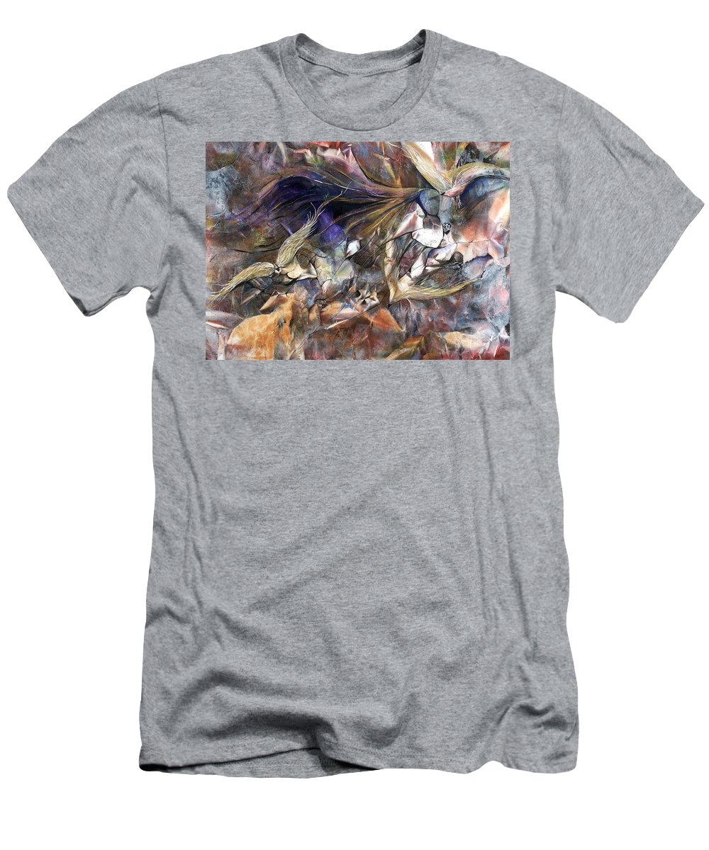 Birds Men's T-Shirt (Athletic Fit) featuring the painting Tango Birds by Jan VonBokel