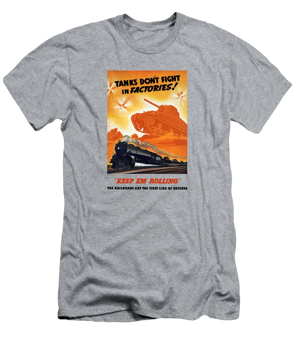 Trains Men's T-Shirt (Athletic Fit) featuring the painting Tanks Don't Fight In Factories by War Is Hell Store