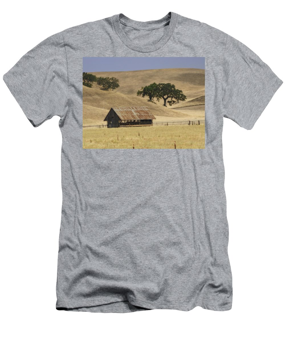Landscapes Men's T-Shirt (Athletic Fit) featuring the photograph Tassajara Road by Karen W Meyer