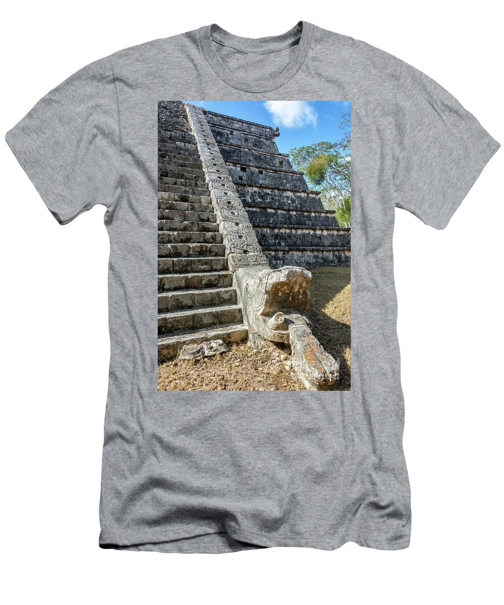 Chichen Itza Men's T-Shirt (Athletic Fit) featuring the photograph Temple In Chichen Itza by Jess Kraft